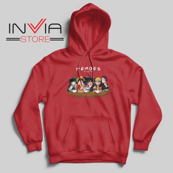 Japanese Super Heroes Friends Hoodie Red