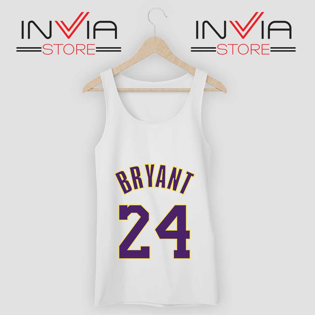 Kobe Bryant 24 LA Lakers RIP Tank Top White