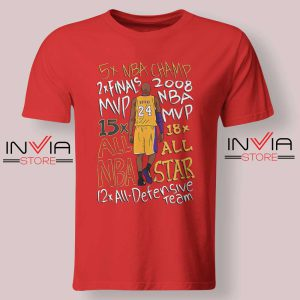 Kobe Bryant Accolades NBA Tshirt Red