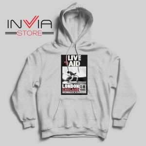 Live Aid Poster at Wembley Hoodie Grey