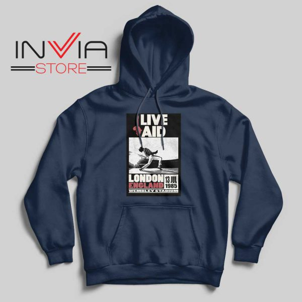 Live Aid Poster at Wembley Hoodie Navy