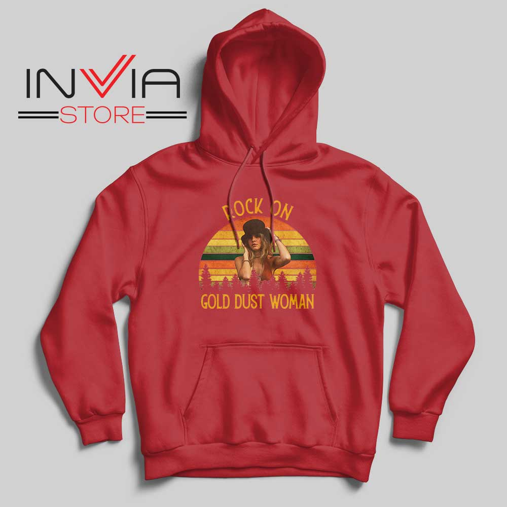 Rock On Gold Dust Woman Hoodie Red