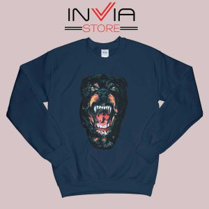 Rottweiler Dog Face Sweatshirt Navy