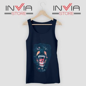 Rottweiler Dog Face Tank Top Navy