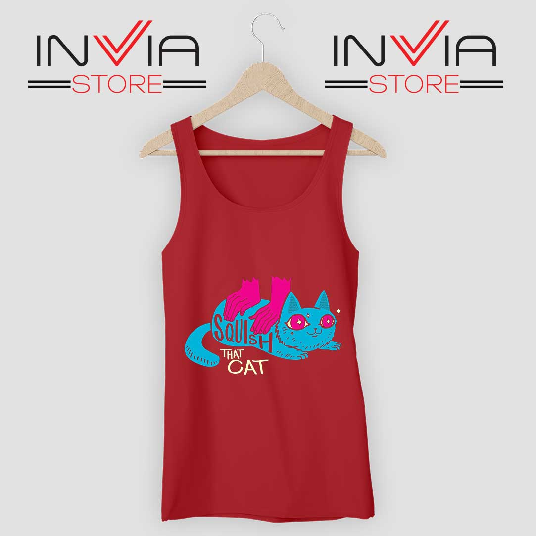 Squish that Cat Tank Top Red