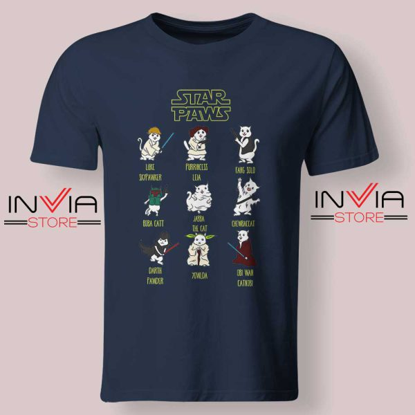 Star Wars Cat Star Paws Tshirt Navy