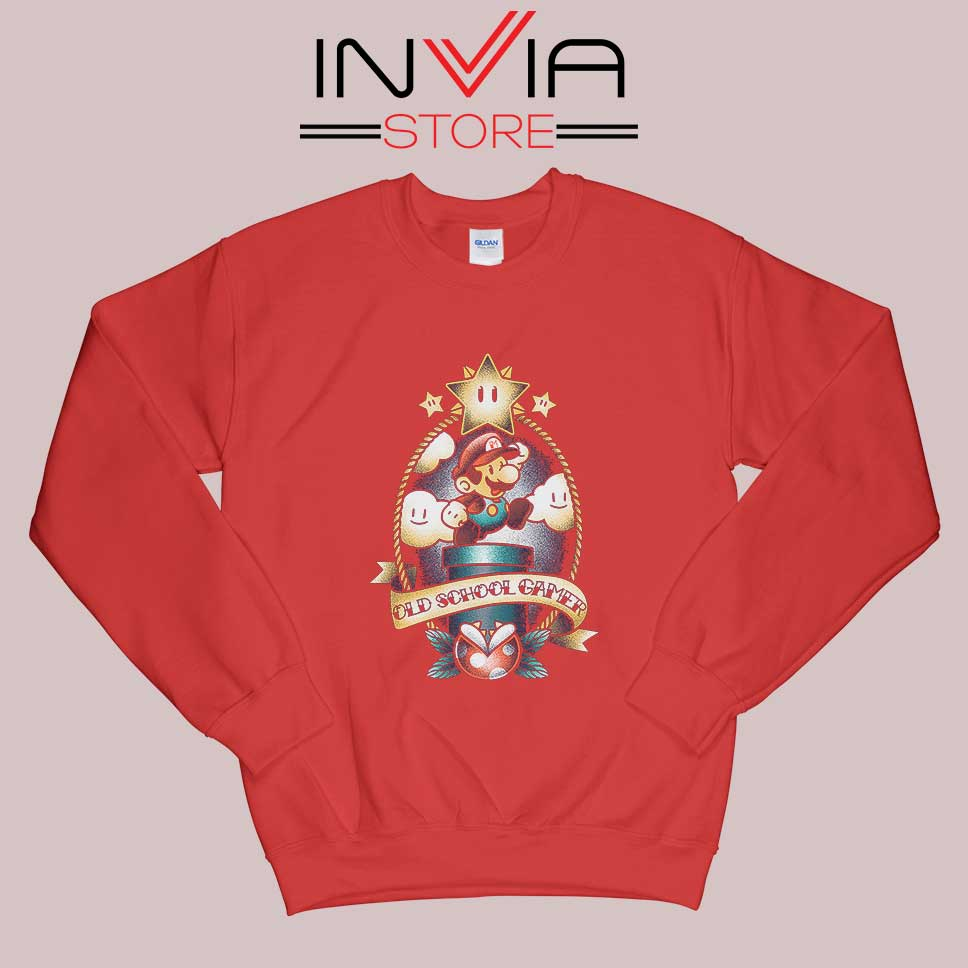 Super Old School Gamer Sweatshirt Red