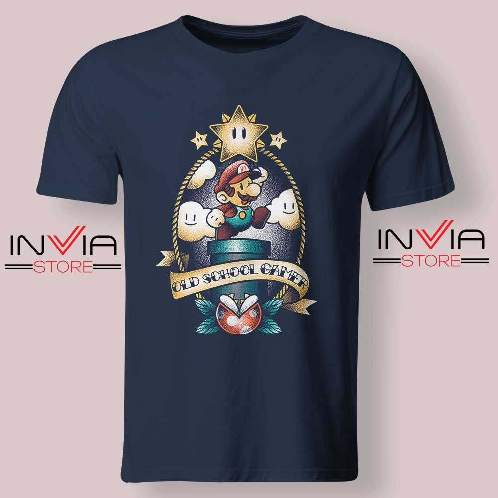 Super Old School Gamer Tshirt Navy