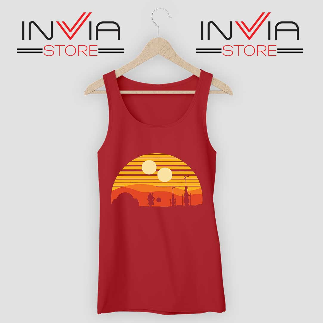Vintage Sunset Mandalorian Tank Top Red