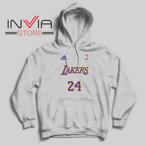 24 Lakers Adidas Jersey Tribute Grey Hoodie