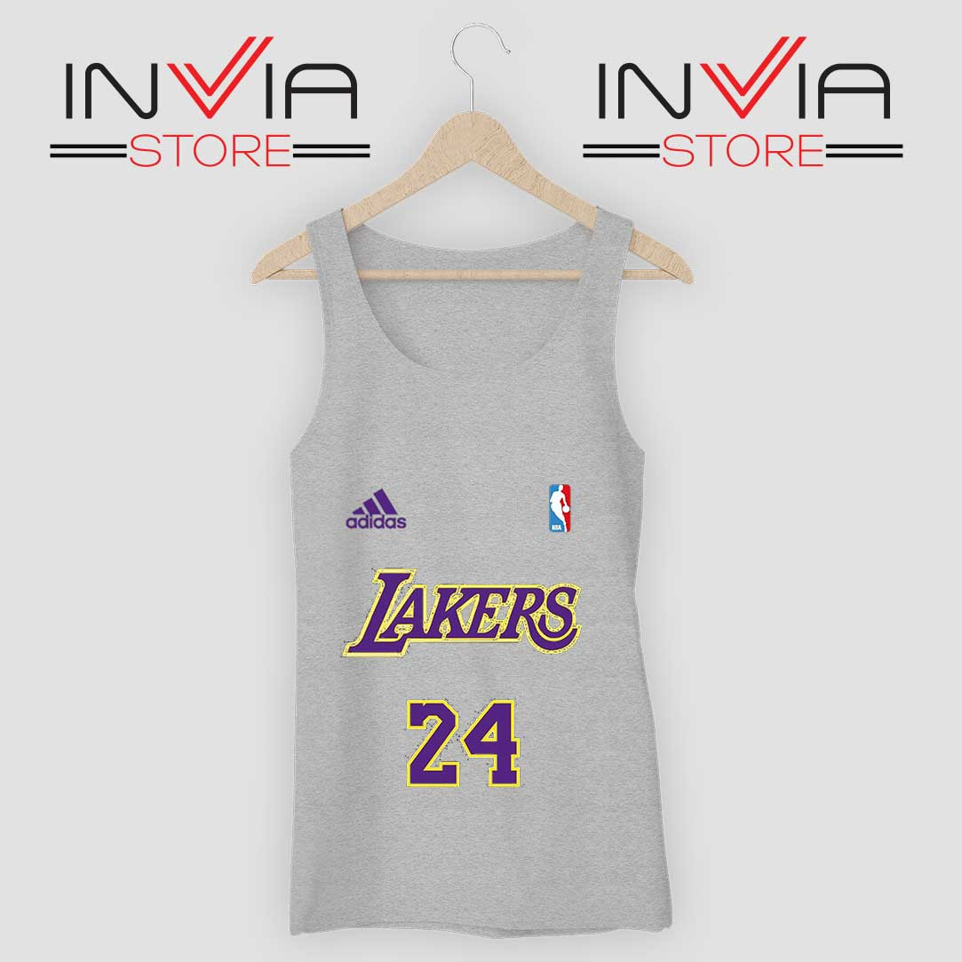 24 Lakers Adidas Jersey Tribute Grey Tank Top