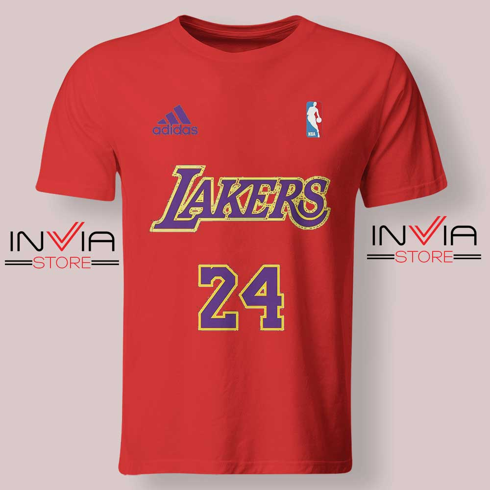 24 Lakers Adidas Jersey Tribute Red Tshirt