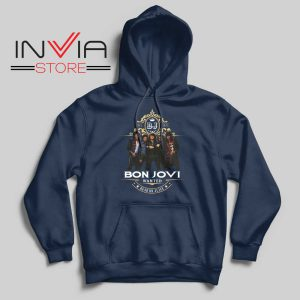 Bon Jovi Wanted Dead Or Live Navy Hoodie