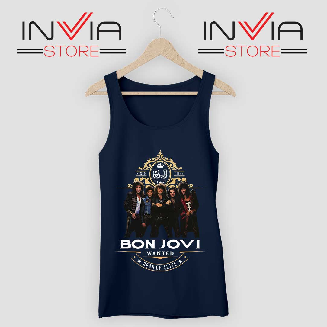 Bon Jovi Wanted Dead Or Live Navy Tank Top