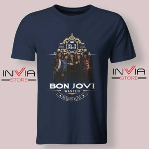 Bon Jovi Wanted Dead Or Live Navy Tshirt