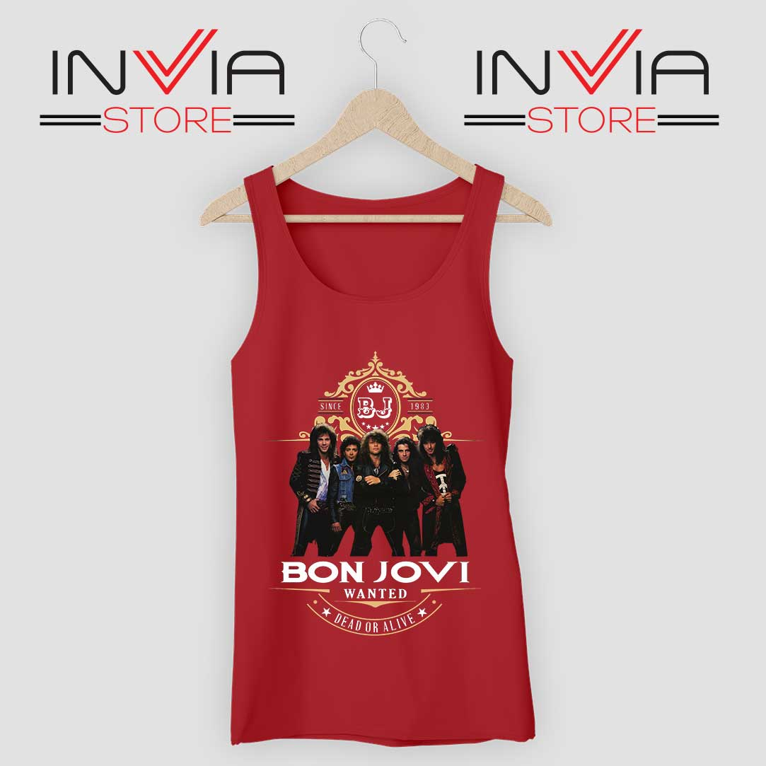 Bon Jovi Wanted Dead Or Live Red Tank Top