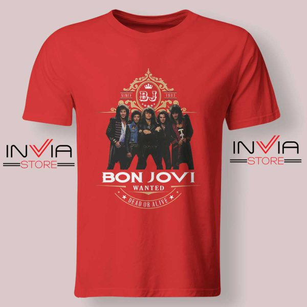 Bon Jovi Wanted Dead Or Live Red Tshirt