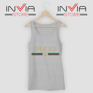 Cheap Pucci Gucci Parody Grey Tank Top