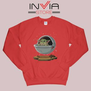 Floating Baby Yoda Sweatshirt Red