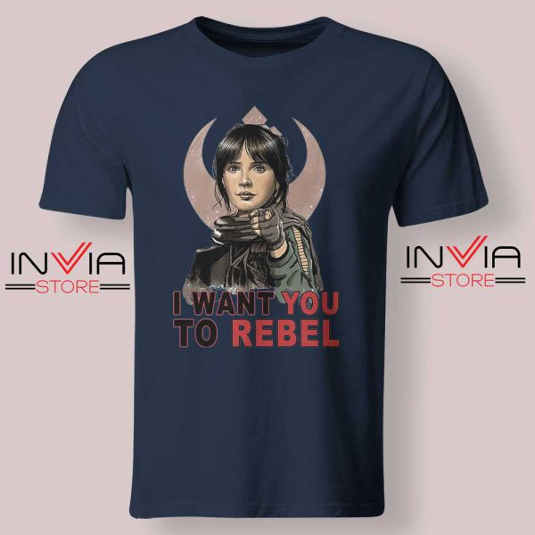 I Want You To Rebel Star Wars Navy Tshirt