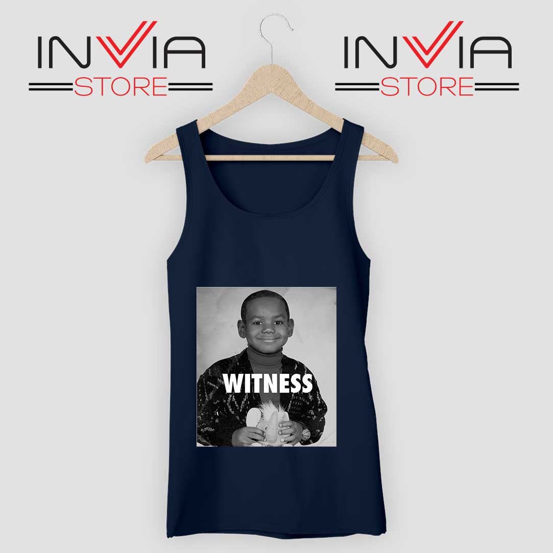 LeBron James Witness Quotes Navy Tank Top
