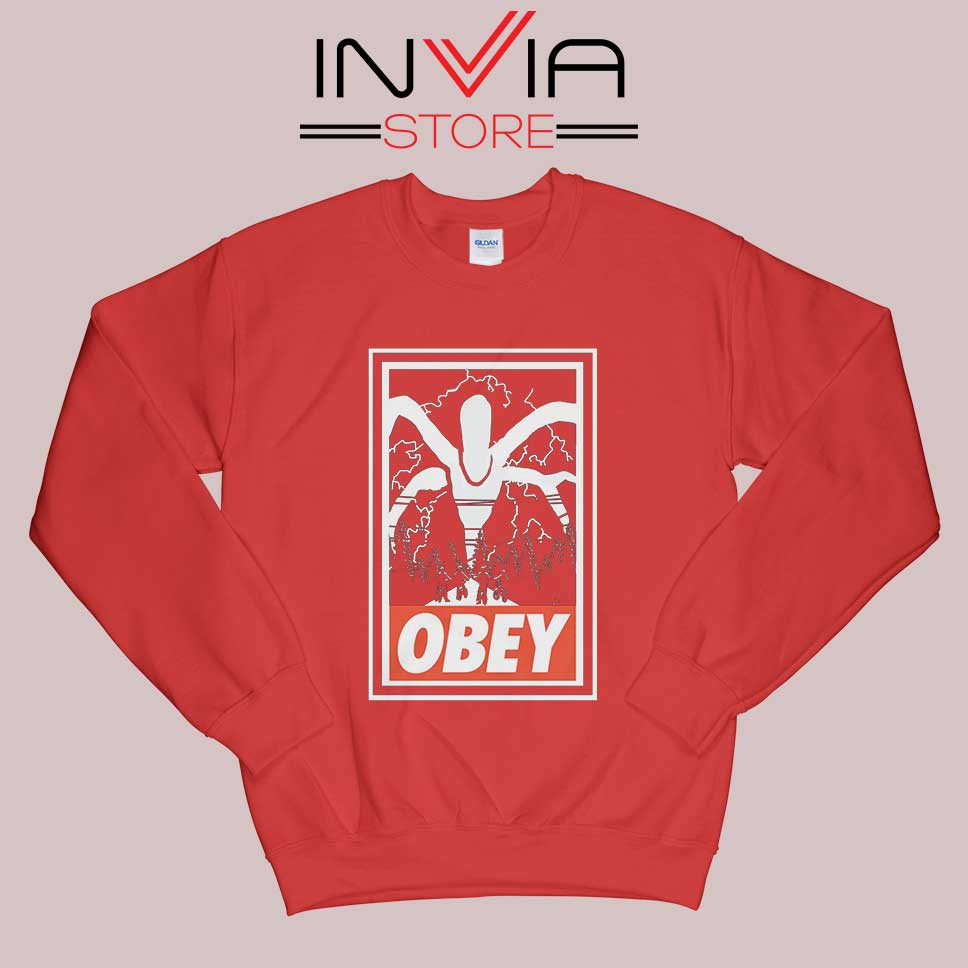 Stranger Things Demogorgon Obey Red Sweatshirt