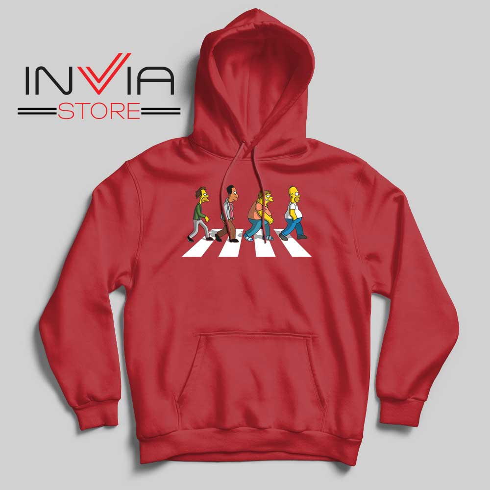 The Simpsons Abey Road Red Hoodie