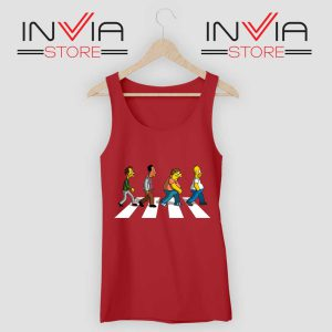 The Simpsons Abey Road Red Tank Top