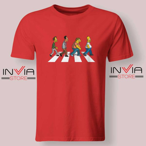 The Simpsons Abey Road Red Tshirt