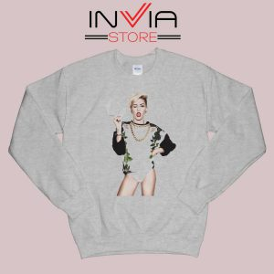 Miley Cyrus Sexy Pose Grey Sweatshirt